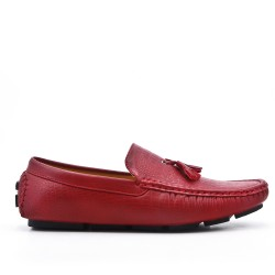 Red moccasin in faux leather with pompom