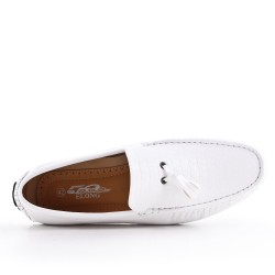 White moccasin in faux leather with pompom