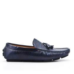 Blue moccasin in faux leather with pompom