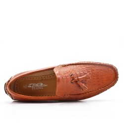 Camel moccasin in faux leather with pompom