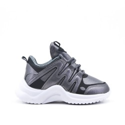 Gray kid's sneaker with lace