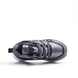 Zapatilla de deporte gris para niños con encaje