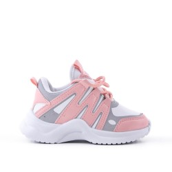 Pink kid's sneaker with lace