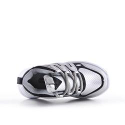 Zapatilla de deporte plata para niños con encaje