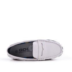 White imitation leather loafer with velcro
