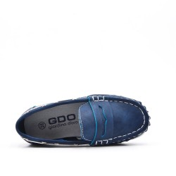 Blue imitation leather loafer with velcro