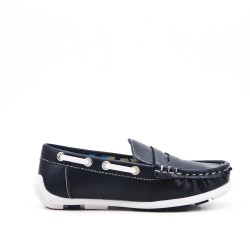 Black imitation leather loafer with velcro