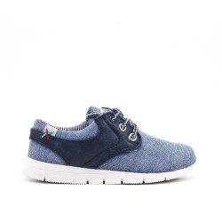 Blue jean child shoe with lace