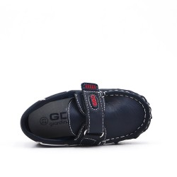 Imitation leather loafer with velcro
