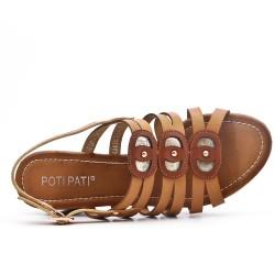 Sandale kaki en simili cuir à gros talon carré
