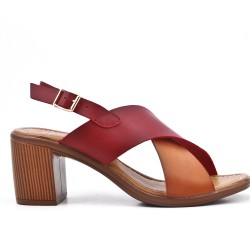 Two-tone faux leather sandal with heel