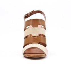Sandale camel en simili cuir à talon haut