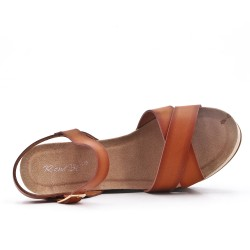 Wedge sandal camel faux leather