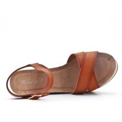 Sandale compensée camel en simili cuir