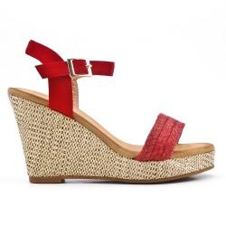 Red wedge sandal