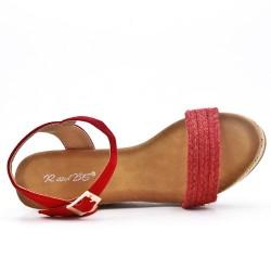 Sandalia de cuña rojo