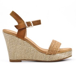 Camel wedge sandal