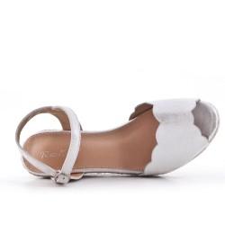 Sandale compensée argent à semelle espadrille