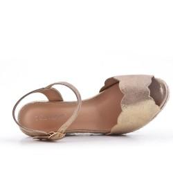 Sandale compensée dorée à semelle espadrille