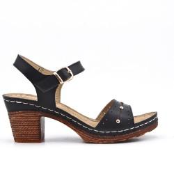 Sandale confort noir en simili cuir
