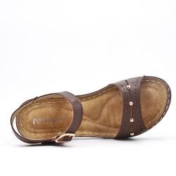 Sandale confort marron en simili cuir