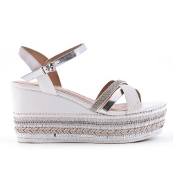 White wedge sandal with beaded sole