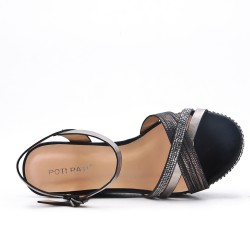Black wedge sandal with beaded sole