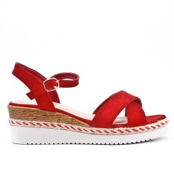 Red faux suede wedge sandal