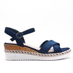 Sandale blue compensée en simili daim