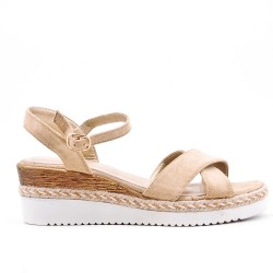 Khaki faux suede wedge sandal