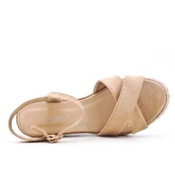 Sandale kaki compensée en simili daim