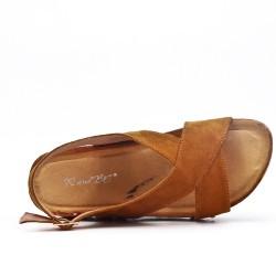 Camel comfort sandal with wedge heel