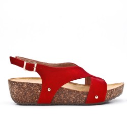 Sandale confort noire à talon compensé