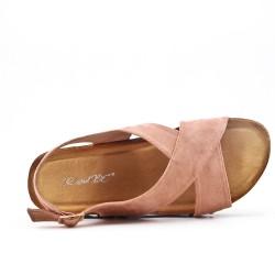 Sandale confort rose à talon compensé