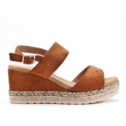 Camel wedge sandal with braided sole