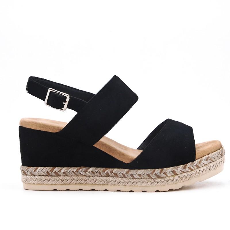 Sandalia Plataforma Negra Suela Con Trenzada EIWD29H