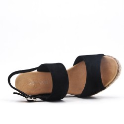 Black wedge sandal with braided sole