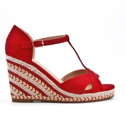 Red wedge sandal with braided sole