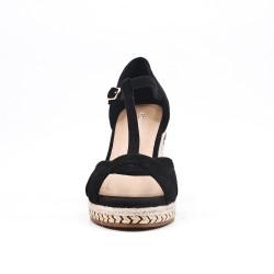 Sandale compensée noire à semelle tressée