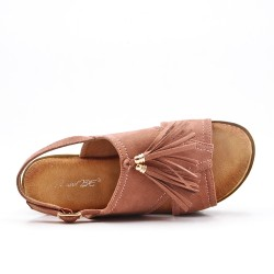 Pink fringed sandal with thick sole