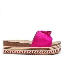 Fuchsia flap in faux suede with fringe