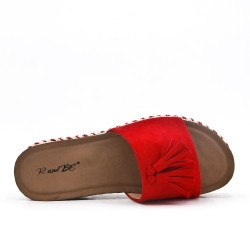 Red flap in faux suede with pompon