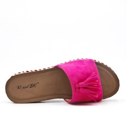 Fuchsia flap in faux suede with pompon