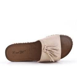 Beige flap in faux suede with pompon