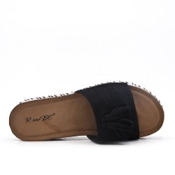 Black flap in faux suede with pompon