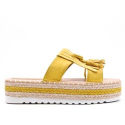 Yellow flap in faux suede with fringe