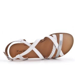 White faux leather sandal with braided strap