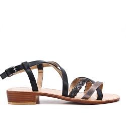 Sandale en simili cuir noir avec bride tressé
