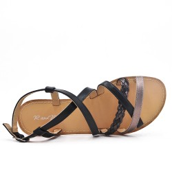 Black faux leather sandal with braided strap