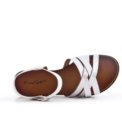 Sandale en simili cuir blanche